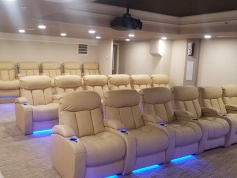 The beautiful seats in the new Downtown Cinema located at The Heritage Downtown