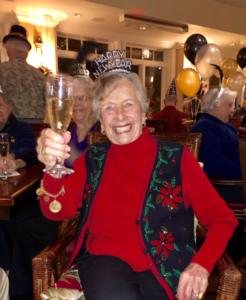Cheers! The Heritage Downtown resident with her champagne glass on New Years Eve