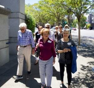 Residents of The Heritage Downtown walking tour to Downtown Walnut Creek